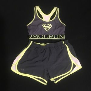 Neon and Gray SUPERMAN sports bra and shorts set
